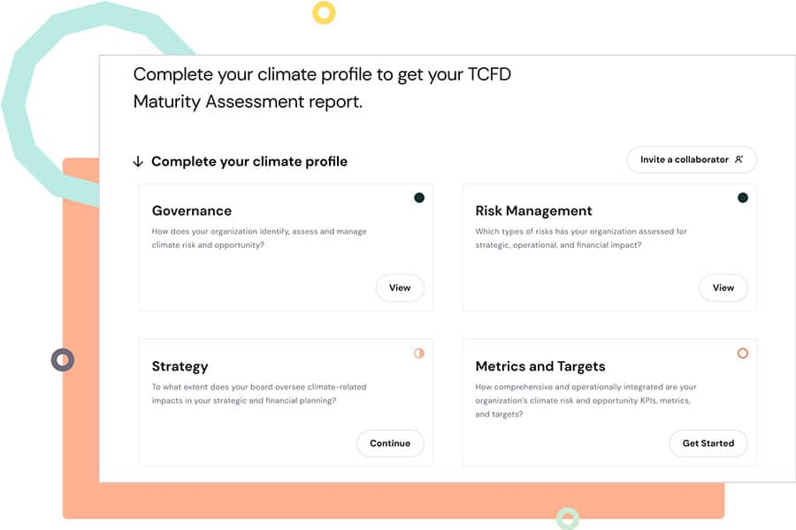 Screenshot preview of Manifest's climate solutions intelligence platform user interface - assessment tool
